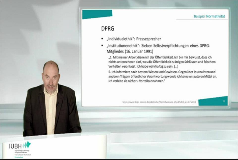 virtuelle Vorlesung an der International University Bad Honnef (Screenshot)