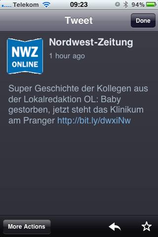 Screenshot NWZ-Tweet. Quelle. privat