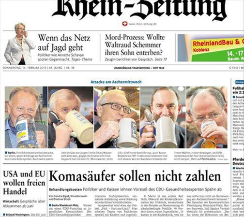 """Screenshot """"Rhein-Zeitung"""". Quelle: privat"""