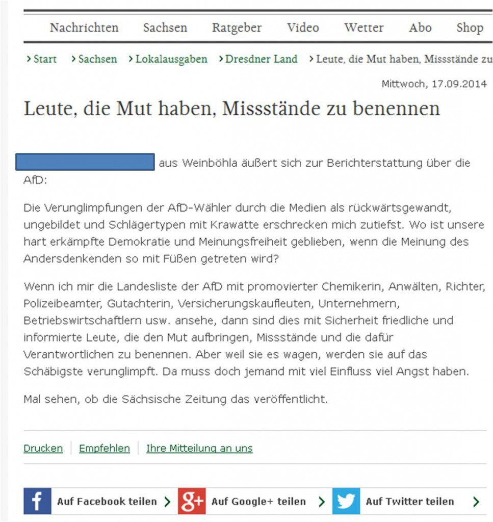 Screenshot Leserbrief SZ Online. Quelle: privat