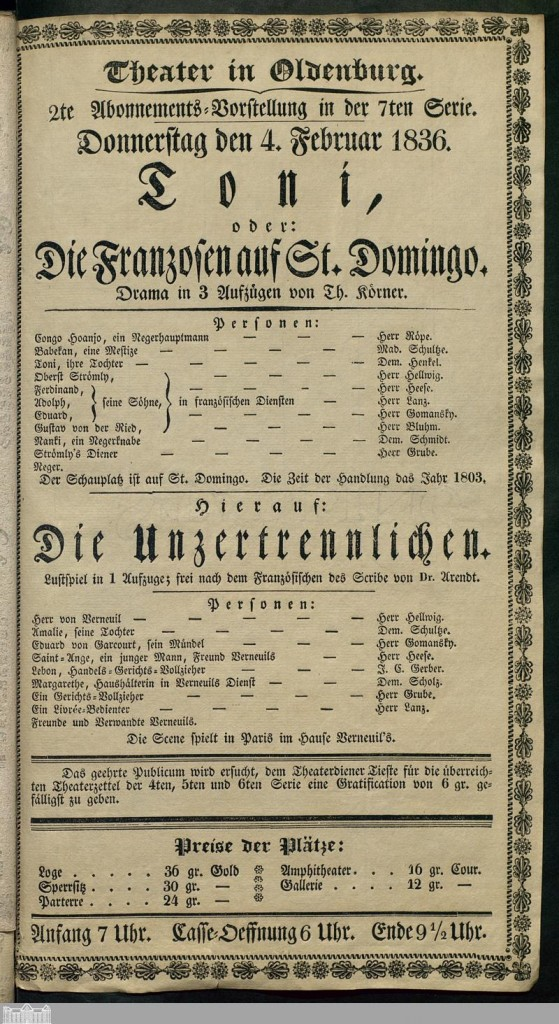 zeitgenössisches Theaterplakat. Quelle: http://digital.lb-oldenburg.de/ihd/periodical/pageview/399071