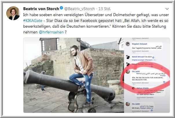 Facebookbild Islamisierung. Screenshot Twitteraccount B.v.Storch