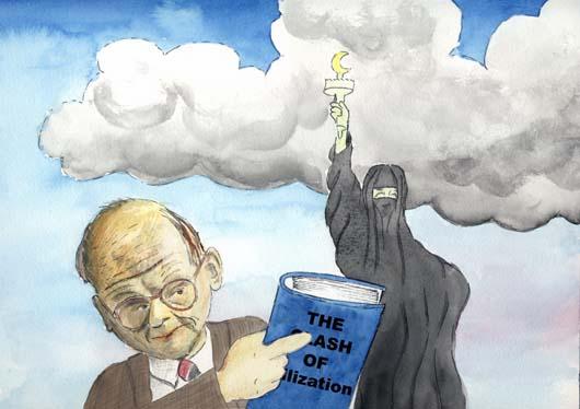 Huntington in der Karikatur. Quelle: http://www.kunstsam.de/samuel_huntington.jpg