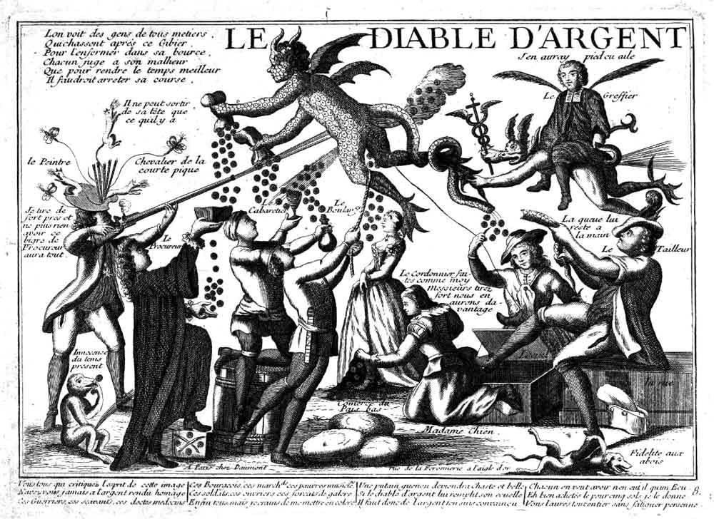 Geldteufel; französische Radierung des frühen 18. Jahrhunderts. Quelle: http://www.dreifaltigkeit-altdorf.de/Le_diable_d'argent.jpg