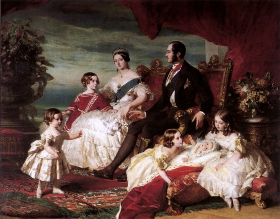 Königin Victoria, Prinz Albert und die fünf ältesten Kinder. https://upload.wikimedia.org/wikipedia/commons/a/ae/Queen_Victoria%2C_Prince_Albert%2C_and_children_by_Franz_Xaver_Winterhalter.jpg